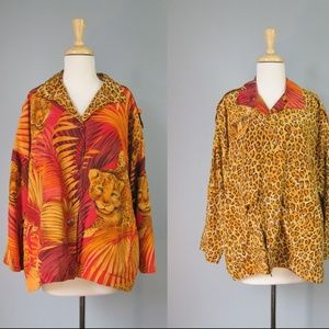 Vintage 80s 90s Reversible Silk Jacket